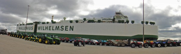 Falstaff with its cargo of tractors in the foreground