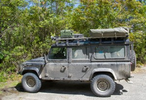 German land rover with roof tent