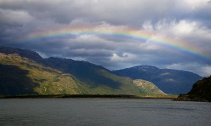 Rainbow over Mitchell Fjord