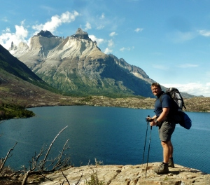 Mark in front of Cuernos Mountains