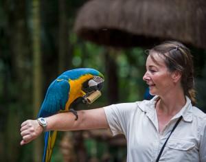 Sarah with bird on her arm