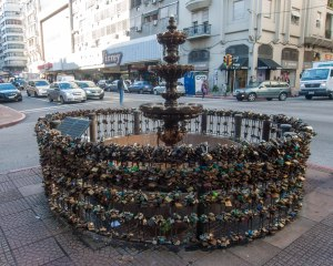 Fountain with locks